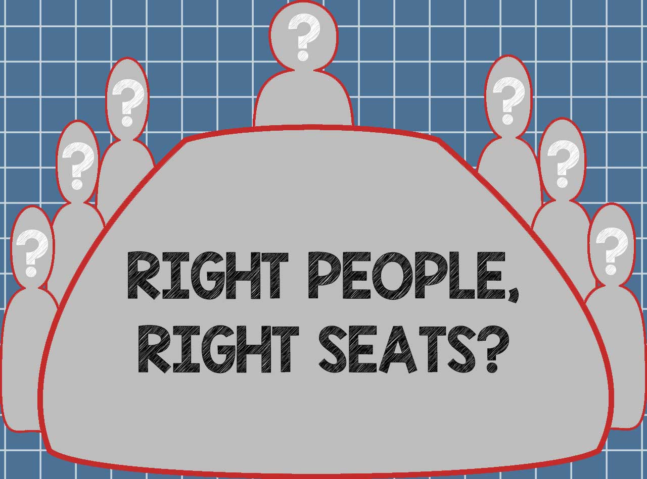 Silhouetted so-called right people sitting round a conference table